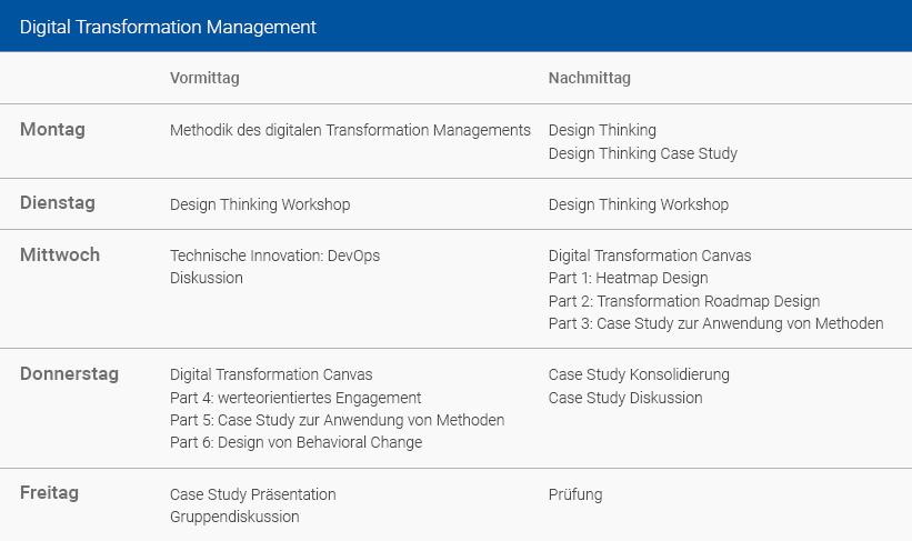 Wochenplan Digital Transformation Management Deutsch
