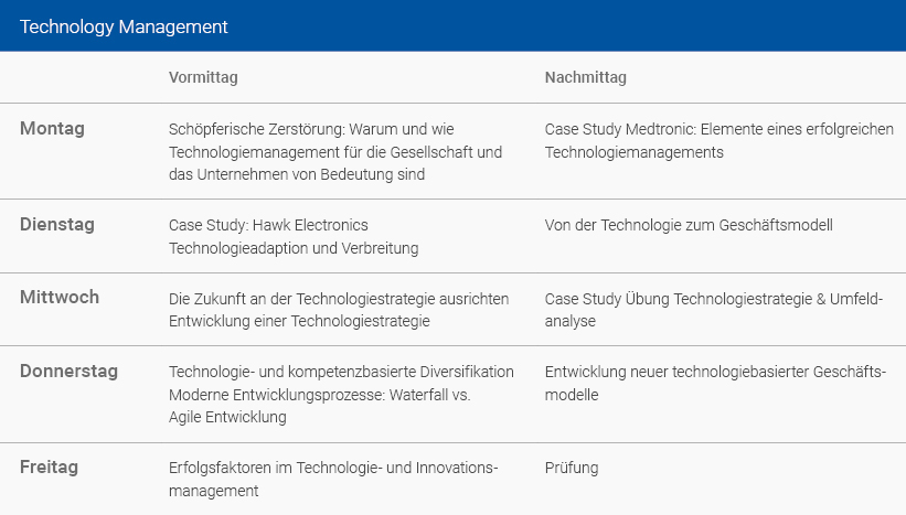 Wochenplan Technology Management Deutsch
