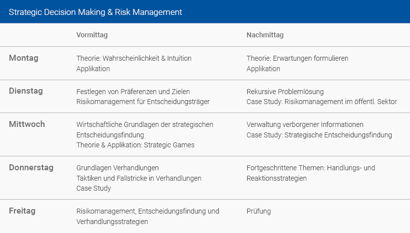 Wochenplan Strategic Decision Making & Risk Management Deutsch