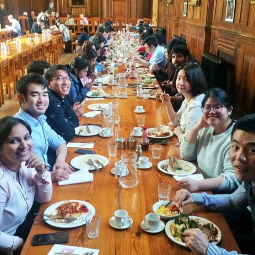 Students of the MME TIME in the Dining Hall of Cambridge University