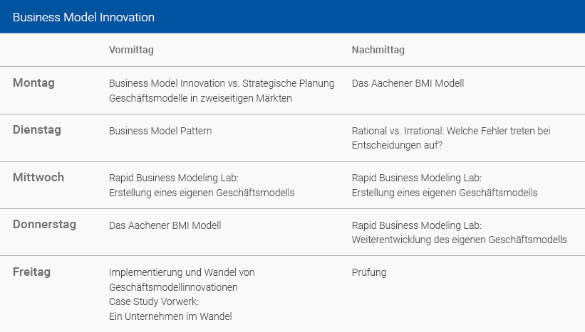 Wochenplan Business Model Innovation Deutsch