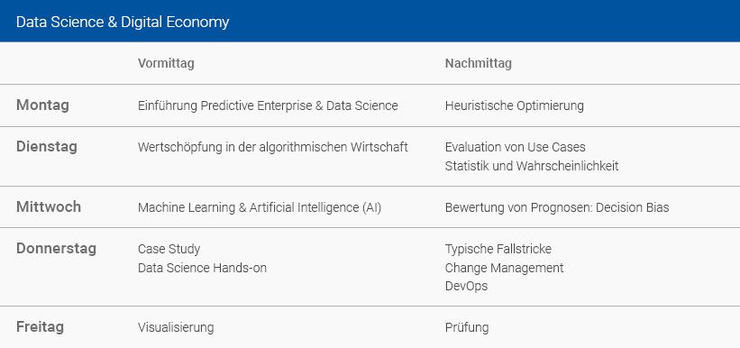 Wochenplan Data Science & Digital Economy Deutsch