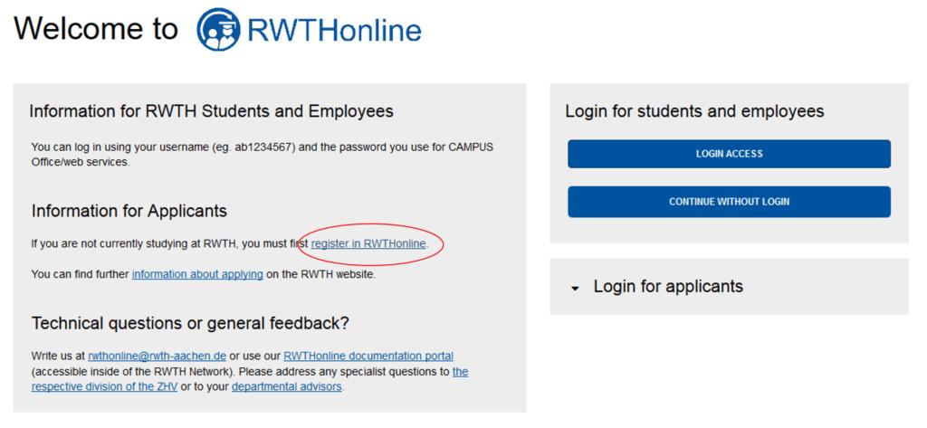 Anleitung zur Registrierung bei RWTHonline