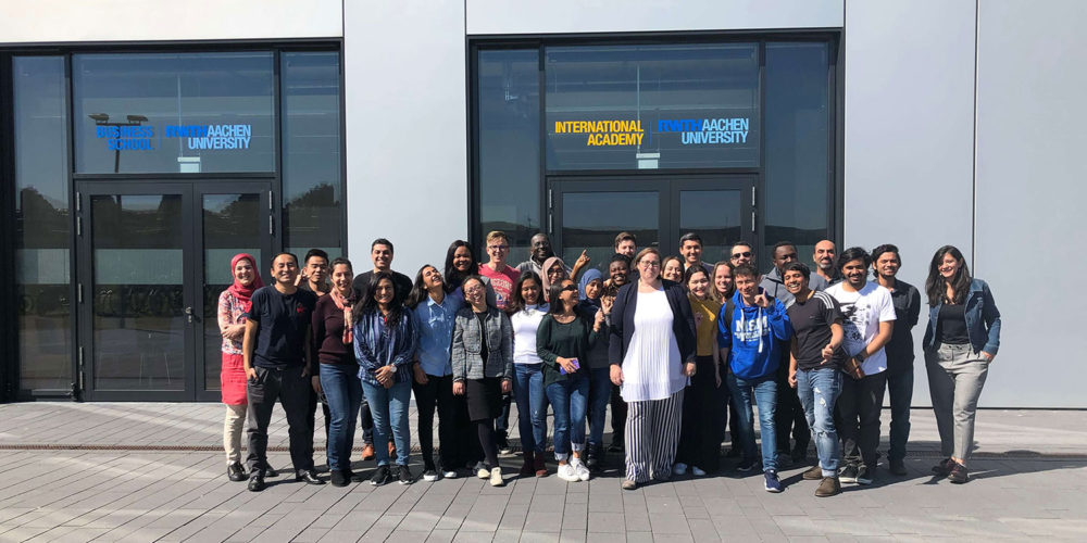 Students of MSM during Module Week in Aachen in front of building, group picture