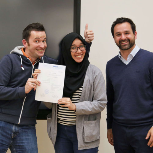 Student of MSM with professors during Module Week in Aachen
