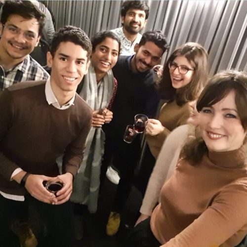 Group of students at the Christmas party of RWTH Business School at the cinema